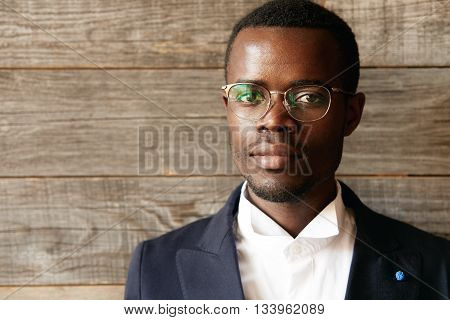 Highly Detailed Close Up Portrait Of Young Smart Successful African Businessman Wearing Elegant Suit
