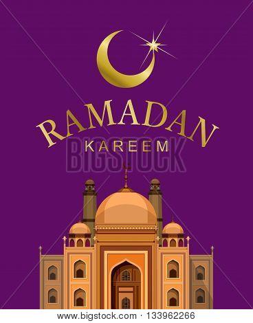 vector illustration of a Muslim mosque architecture Ramadan Kareem Festive postcard