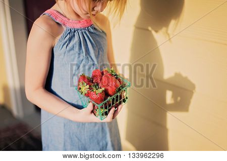 Little girl holding container of fresh-picked strawberries