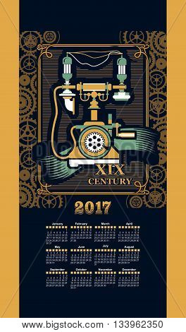 Calendar 2017 mechanical steam punk retro telephone
