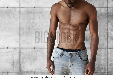Sport And Fitness Concept. Cropped Shot Of Handsome Well-built Athletic Young African American Man I