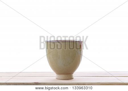 old jar earthenware of japanese style (japanese sake bottle) on wood floor and have clipping paths.