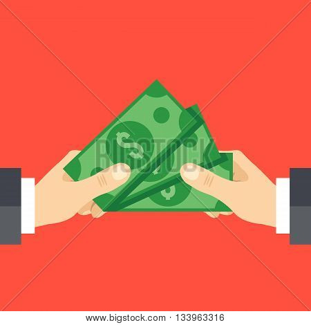 Hand giving cash and hand receiving cash. Funding, bribe, donation, payday concepts. Modern flat design graphics for web sites, web banners, infographics, printed materials. Vector illustration