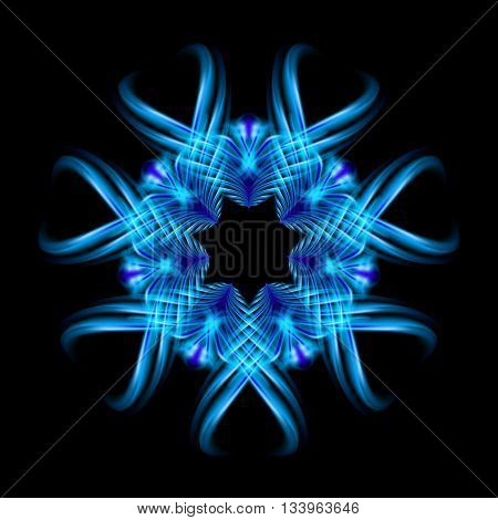 Blue fire ornate decorative rhythmic flamy smudge floral pattern on the black background. Six patterns in different directions.