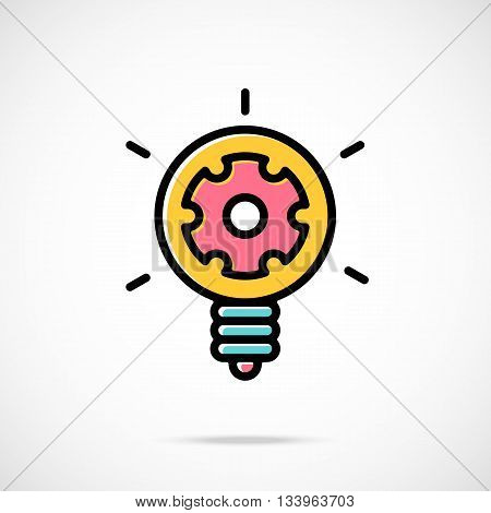 Vector light bulb and gear icon. Idea concept. Cool cartoon light bulb and cog inside. Modern thin line flat design graphics for web sites, web banners, infographics, printed materials. Vector icon