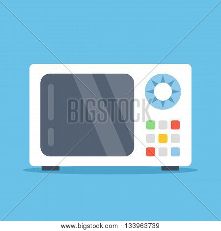 Vector microwave oven. White microwave isolated on blue background. Flat design vector illustration