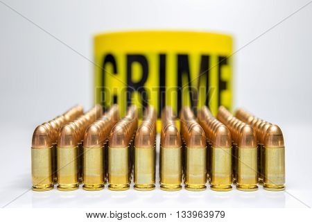 row of bullet and word crime background