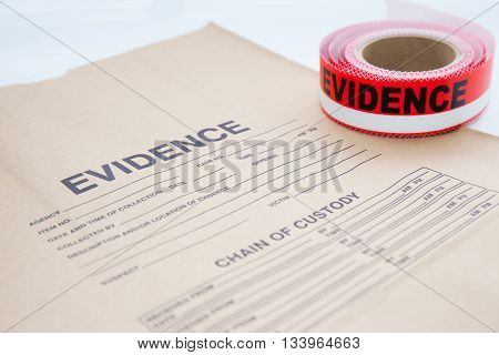evidence bag with red evidence sealing tape for crime scene investigation