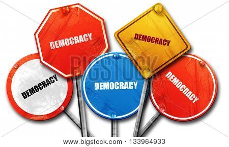 democracy, 3D rendering, street signs, 3D rendering, street sign
