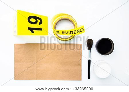 latent fingerprint search tool in crime scene isolated on white background
