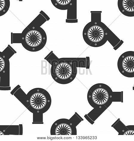 Automotive turbocharger icon pattern on white background