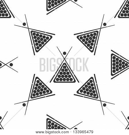 Billiard cue and balls icon pattern on white background