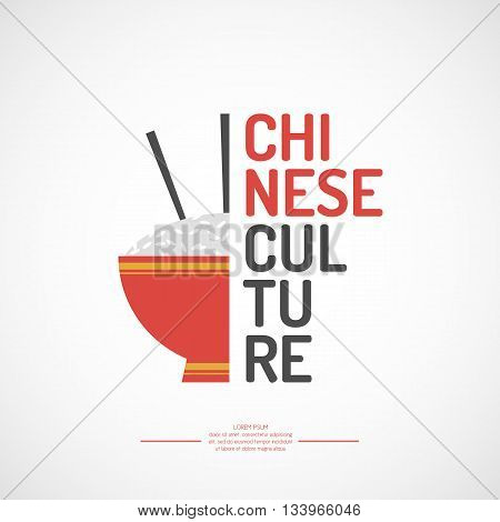 Vector poster Chinese culture. The isolated image of the objects of Asian culture.