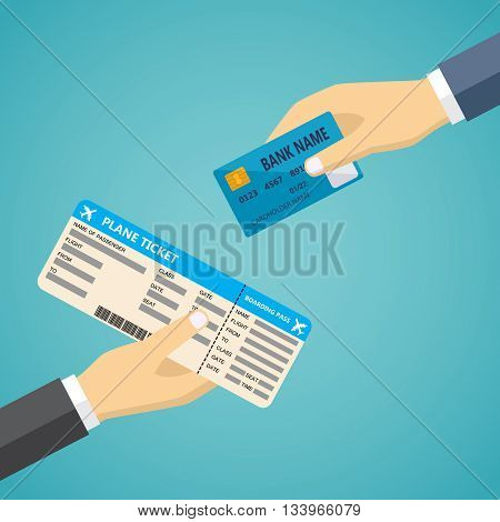 Ecommerce vector flat illustration. Hand with credit card and hand with airplane boarding pass.