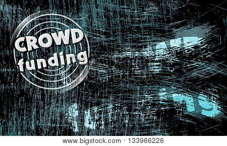 Vector abstract scratched background and icon of crowd funding