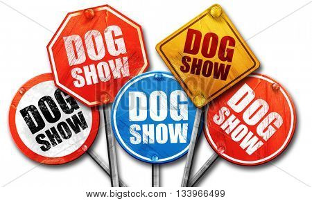 dog show, 3D rendering, street signs