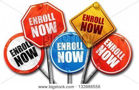 enroll now, 3D rendering, street signs