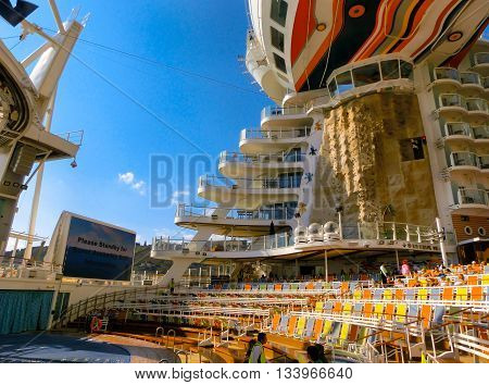 Barselona, Spaine - September, 6 2015: The cruise ship Allure of the Seas, The Royal Caribbean International. The interior view of the ship