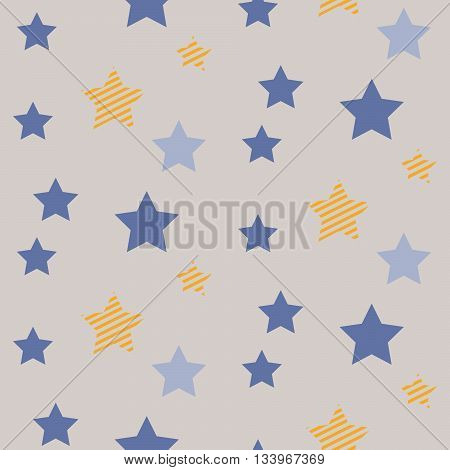 Stars on night sky boy seamless vector pattern. Blue and yellow star shapes in the sky on grey background. Minimalist style textile fabric cartoon nature ornament.