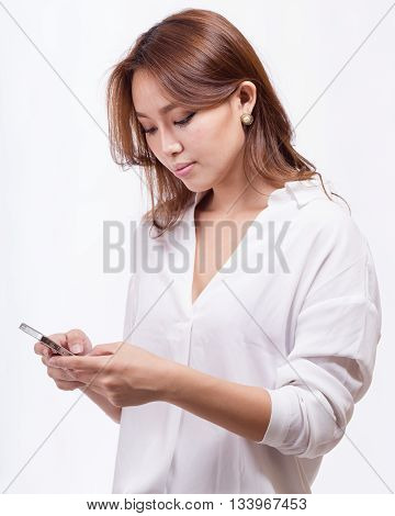 Asian Woman With Smart Phone Texting