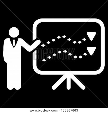 Trends Presentation vector toolbar icon. Style is flat icon symbol, white color, black background, rhombus dots.