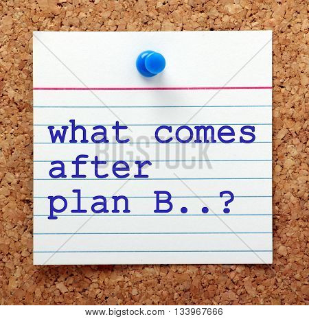 The words What Comes After Plan B typed on a note card pinned to a cork notice board as a reminder
