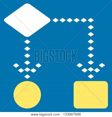 Algorithm Scheme vector toolbar icon. Style is bicolor flat icon symbol, yellow and white colors, blue background, rhombus dots.