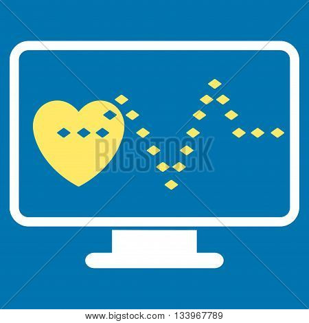 Cardio Monitoring vector toolbar icon. Style is bicolor flat icon symbol, yellow and white colors, blue background, rhombus dots.