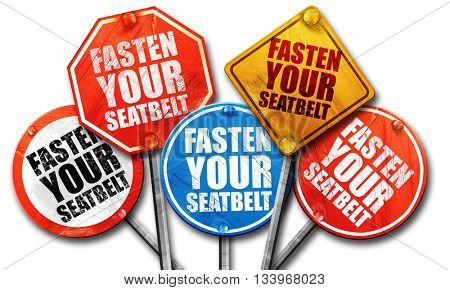 fasten your seatbelt, 3D rendering, street signs