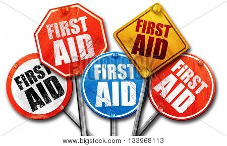 first aid, 3D rendering, street signs
