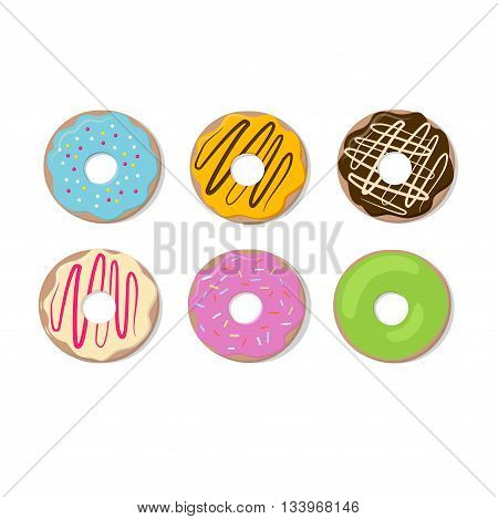 Donut vector set isolated on a light background. Donut icon in a modern flat style. Donuts into the glaze collection. Isolated, sweet sugar icing donuts.