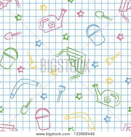 Seamless pattern back to school. Vector White sheet blue squared writing ink. Hand-drawn style. Seamless vector wallpaper with the image of kite flying, head, boomerang, star, bucket, shovel, rake