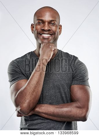 Handsome Fit Man With Hand On Chin