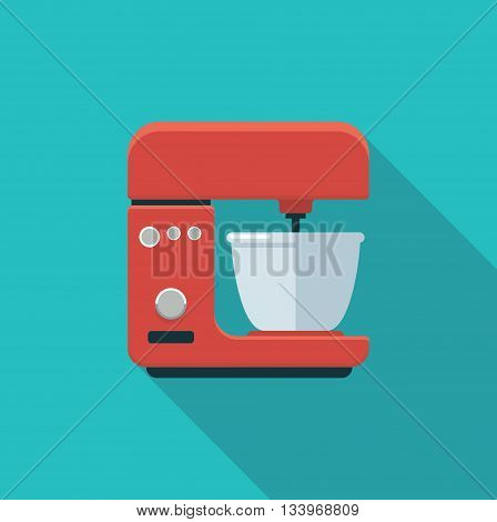 Flat color icon kitchen mixer. Vector illustration