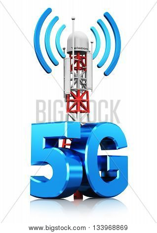3D render illustration of mobile base station or TV transmitter antenna pylon with 5G sign, symbol or logo isolated on white background with reflection effect