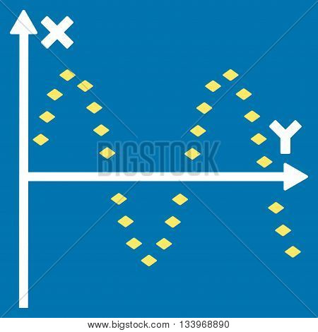 Dotted Sine Plot vector toolbar icon. Style is bicolor flat icon symbol, yellow and white colors, blue background, rhombus dots.