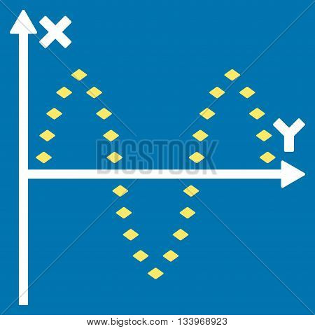 Dotted Sinusoid Plot vector toolbar icon. Style is bicolor flat icon symbol, yellow and white colors, blue background, rhombus dots.
