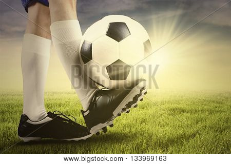 Close up of foot of football player playing a ball on the green grass in the morning time