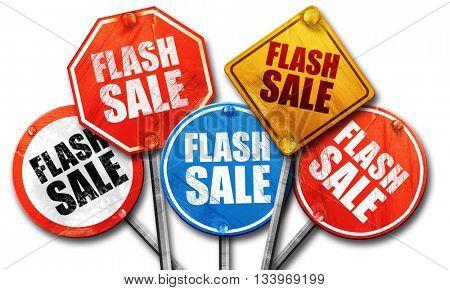flash sale, 3D rendering, street signs