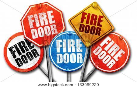 fire door, 3D rendering, street signs