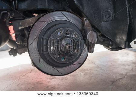 Disk Break And Detail Of The Wheel Hub