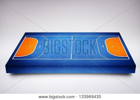 Drawing of sports field against blue background