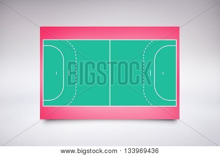 Drawing of sports field against green background