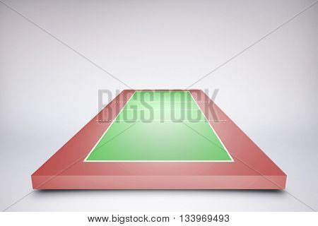 Drawing of sports field against green vignette