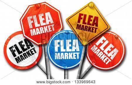 flea market, 3D rendering, street signs