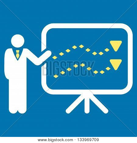 Trends Presentation vector toolbar icon. Style is bicolor flat icon symbol, yellow and white colors, blue background, rhombus dots.
