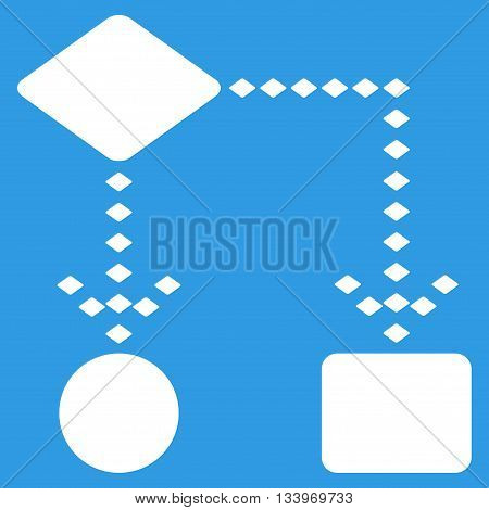 Algorithm Scheme vector toolbar icon. Style is flat icon symbol, white color, blue background, rhombus dots.