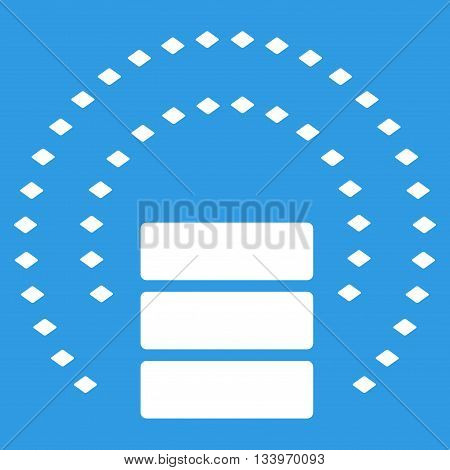 Database Sphere Shield vector toolbar icon. Style is flat icon symbol, white color, blue background, rhombus dots.