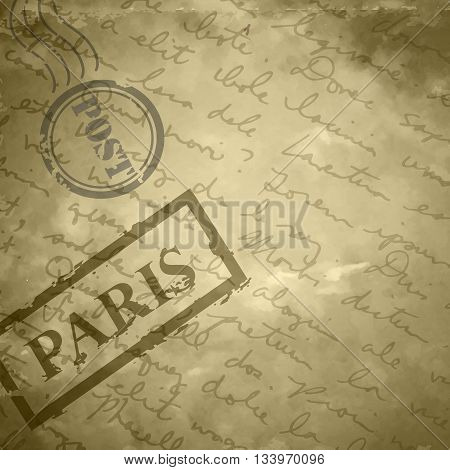 Light beige grange scratched background old paper with stamps post and Paris hand-drawn