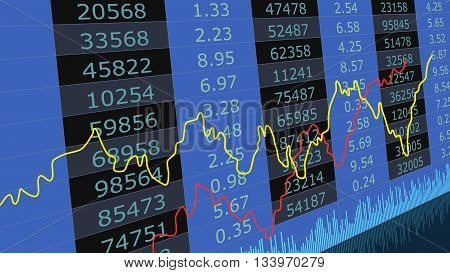 Stock exchange chart graph.Financial stock market data.. Abstract stock market diagram candle bars trade